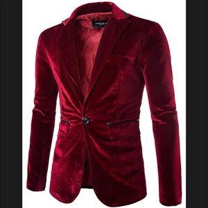 Other - NWT Mens Fitted Dark Red Velvet Blazer